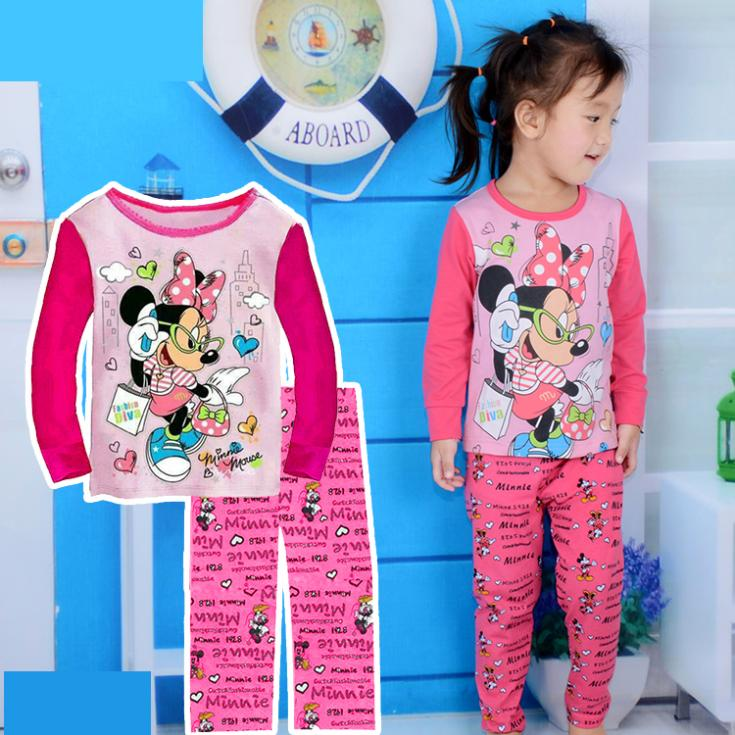 hot sale fantasia cartoon pijamas kids spring autumn long sleeve todder baby girls pajama set baby sleepwear(China (Mainland))