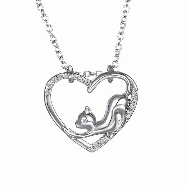 Silver Necklace with Cats