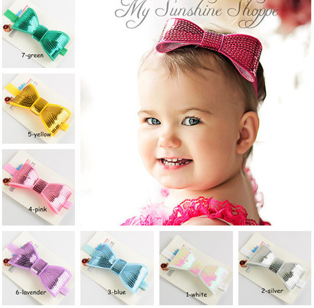 20pcs 2016 new high quality handmade Embroidery flash light bead piece bowknot elastic hair band Children's hair accessories(China (Mainland))