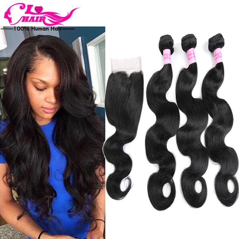 Peruvian Virgin Hair With Closure Peruvian Virgin Hair Body Wave With Closure 3 Bundles With Closure Human Hair Weave ILOVE HAIR<br><br>Aliexpress