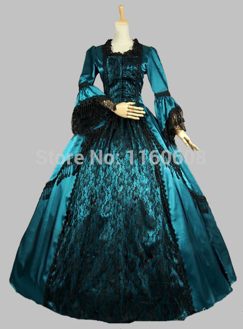 Blue Trumpet Sleeves Victorian Ball Gowns with Black Lace  Stage Party Ball Gown(China (Mainland))