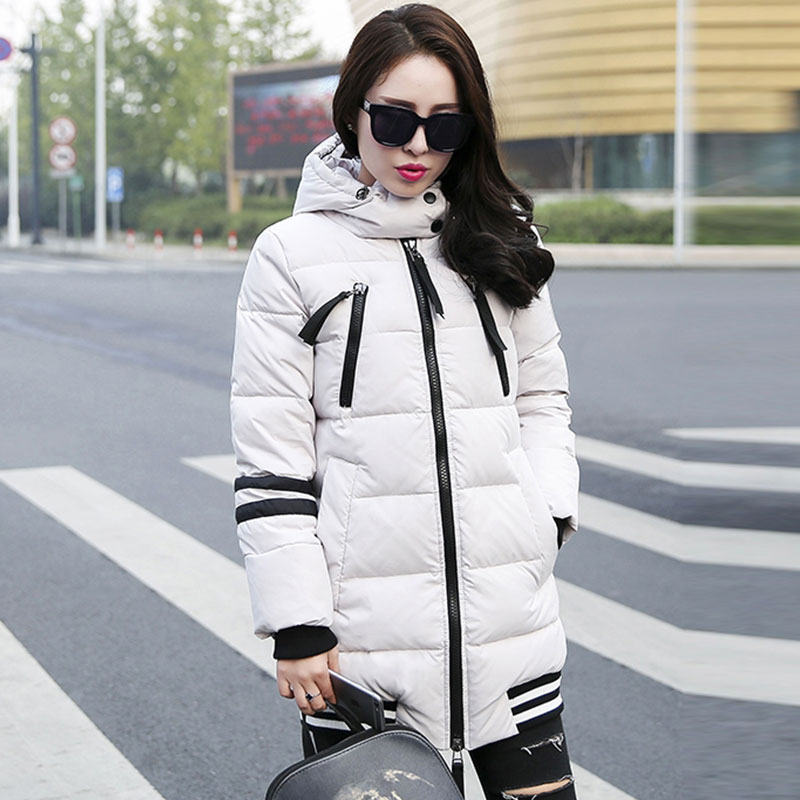 Plus Size 2015 Korean Fashion Winter Women Duck Down Coat Hooded Jacket Simple Thick Warm Long Cool Streetwear Outerwear AE248