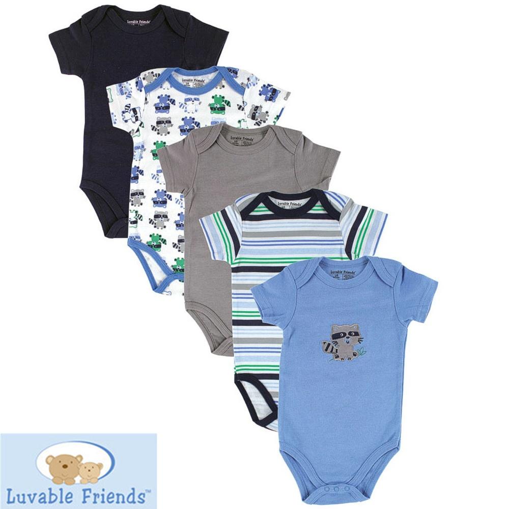 5Pcs/Lot 0-12 Months Luvable Friends Carters Baby Boys Girls Pure Cotton Bodysuits Short sleeve Jumpsuit Infant Clothing SL-7<br><br>Aliexpress
