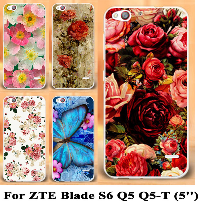 Painting Phone Cases for ZTE Blade S6 Q5 5inch Phone Case Cover Shell For ZTE Blade S6 Rose Case Peony Flowers Background Cover(China (Mainland))