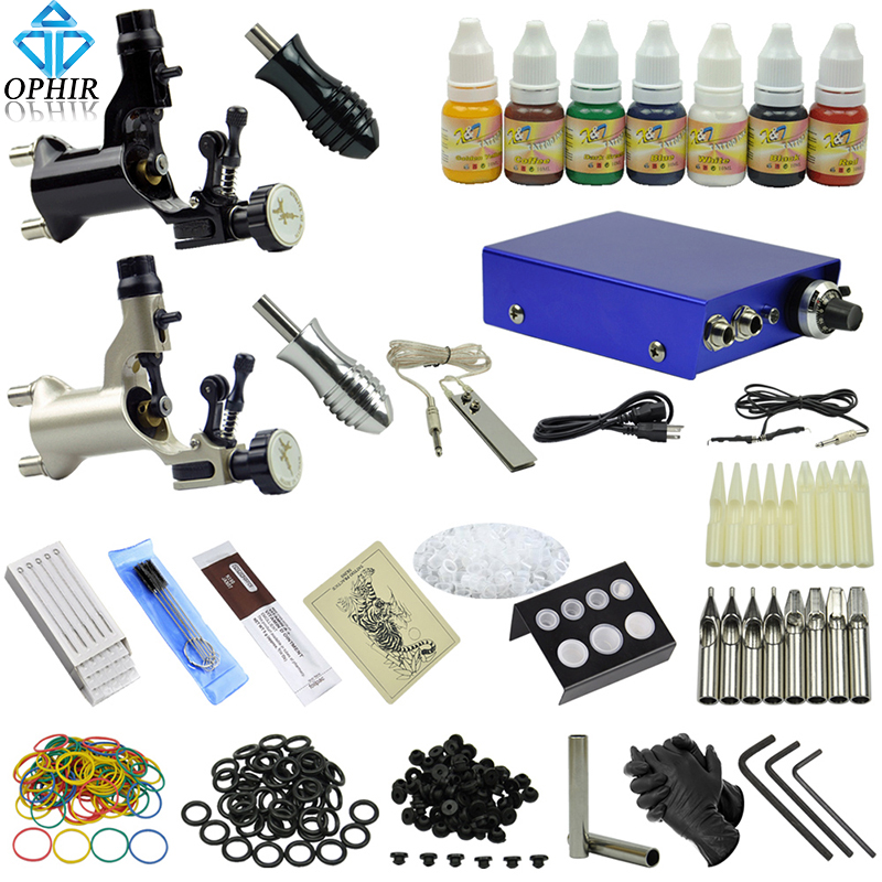 OPHIR Professional Complete Tattoo Kits 2 Rotary Tattoo Machine Guns Body Art Equipment 7x10ml Inks Needles Nozzles Set_TA067(China (Mainland))