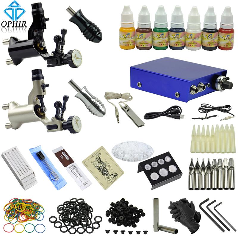 OPHIR Professional 2 Rotary Tattoo Machine Kit Equiment Gun 7x10ml Ink Needle Set #TA067