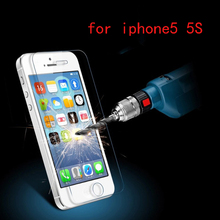 For iphone 5s glass 2.5D arc edge Tempered Screen Protector film protective glass for iPhone 5 on the for iPhone 5s film