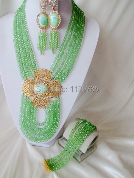 Fashion Nigerian African Wedding Beads Jewelry Set , Crystal Necklace Bracelet Earrings Set A-5554<br><br>Aliexpress