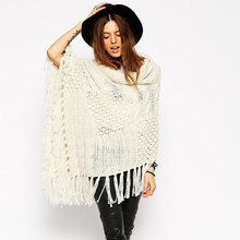 2015 new arrival poncho women long sweaters turtleneck tassel beige womens capes and ponchoes fashion knitting winter pullover(China (Mainland))