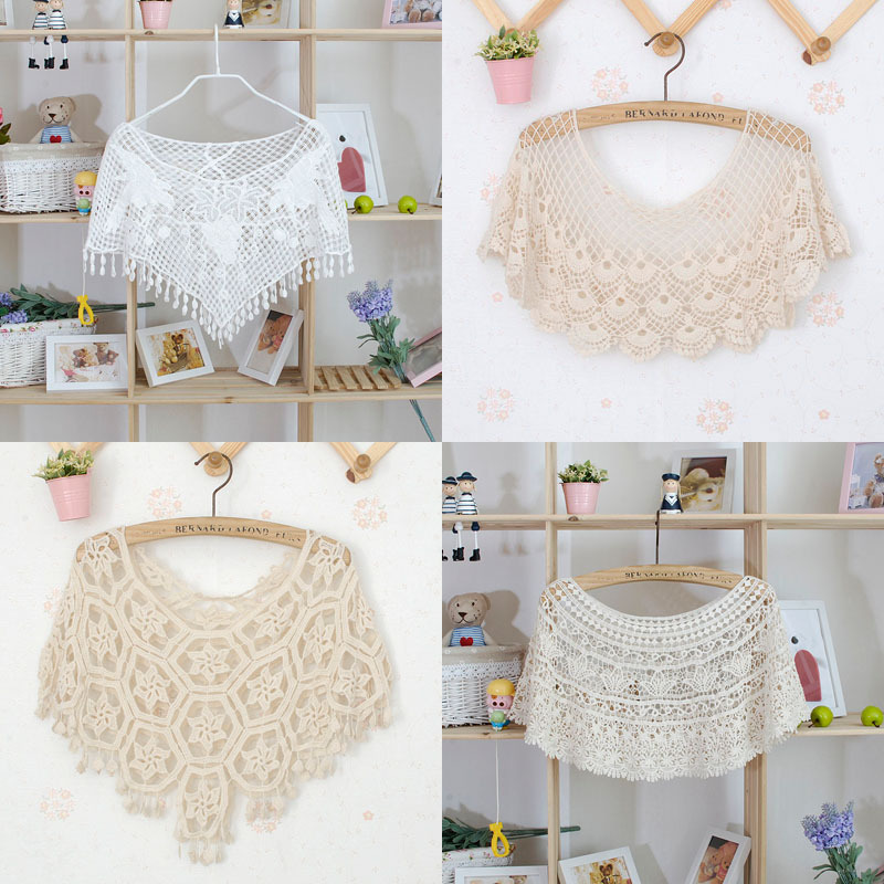 2015 Summer style crochet Shawls Sexy Handmade Crocheted Retro Knitted Pashmina 4designs Vintage lace tops CH344(China (Mainland))