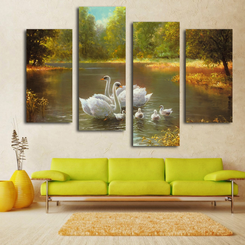 nice white swan painting wall picture on living room reproduction canvas art in painting. Black Bedroom Furniture Sets. Home Design Ideas