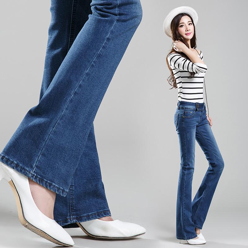 2016 New Brand Stretch Skinny Jeans Female Push Up Jeans Flare Leg font b Women b
