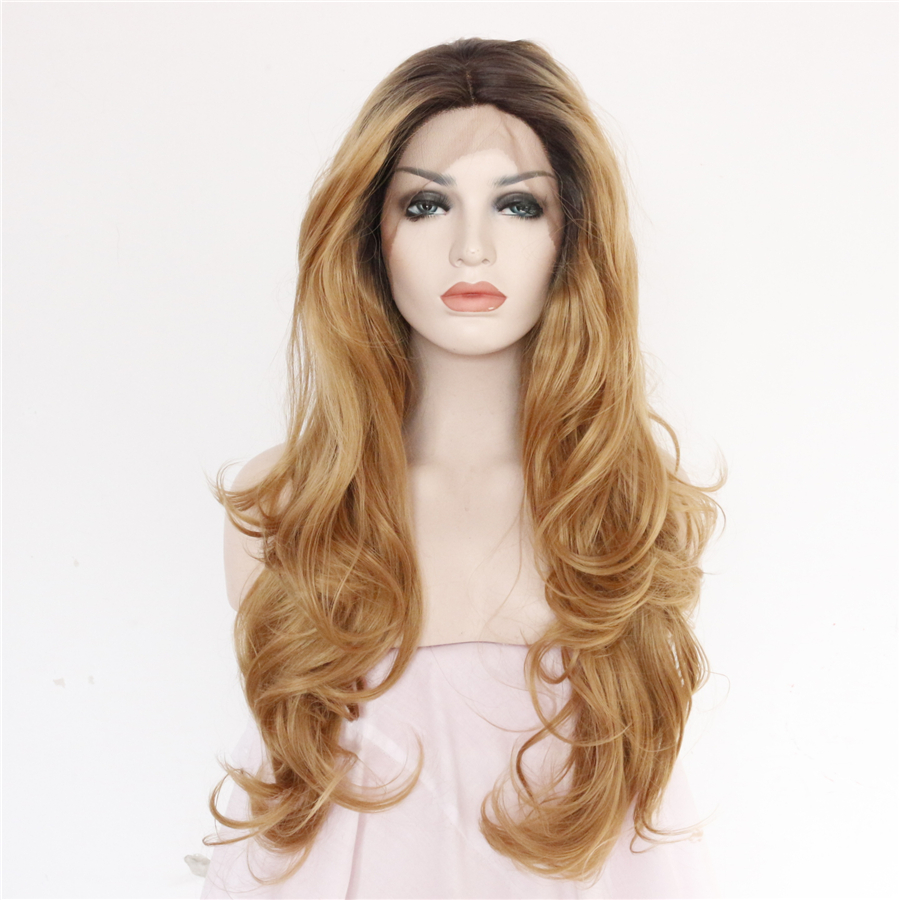 Synthetic Lace Front Wig Laco Dianteira Penruca Brown Wigs Ombre Dark Roots 2 Toes Wavy Heat Resistant Hair Fashion For Women(China (Mainland))