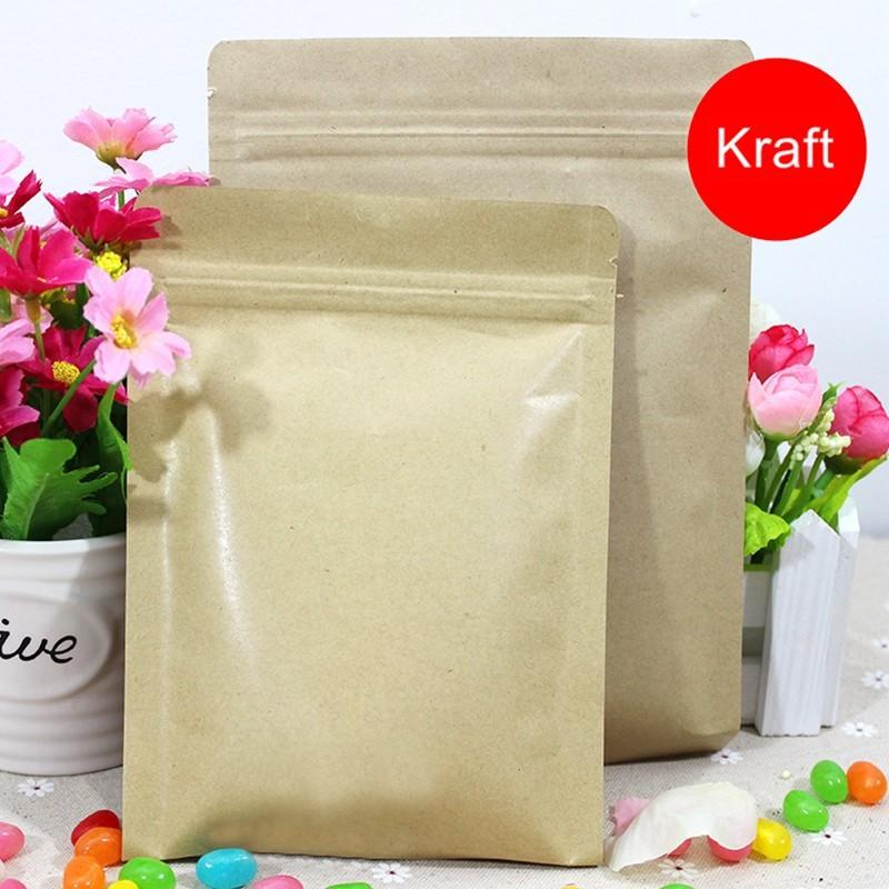 6*8cm small size Zip lock brown Kraft coffee tea paper Packaging bags bulk lot 100pcs wholesale(China (Mainland))