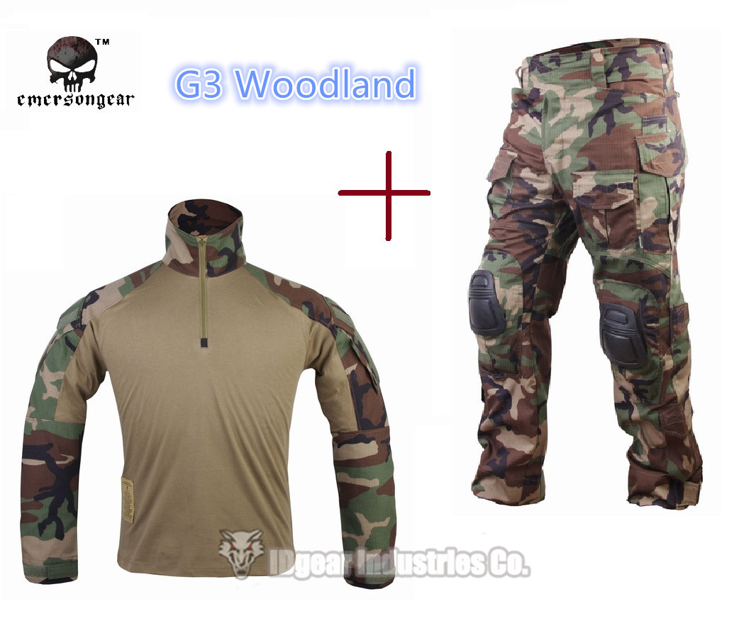 Hunting clothing Emerson G3 Combat uniform shirt & Pants knee pads Army Airsoft clothes Woodland