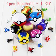 Buy 13 Color 1pcs Pokeball + 1Pcs random Figure Elf elves Poke Ball Pikachu Super Master Great Ash Ball Fairy Animal PVC Figure Toy for $1.28 in AliExpress store