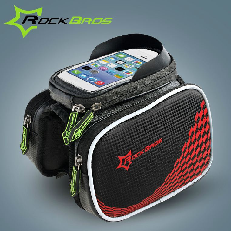 ROCKBROS Bike Bicycle Cycling Ride Frame Front Head Top Tube Bag Cycling Pannier Cell Phone Smartphone Case Black BF129(China (Mainland))