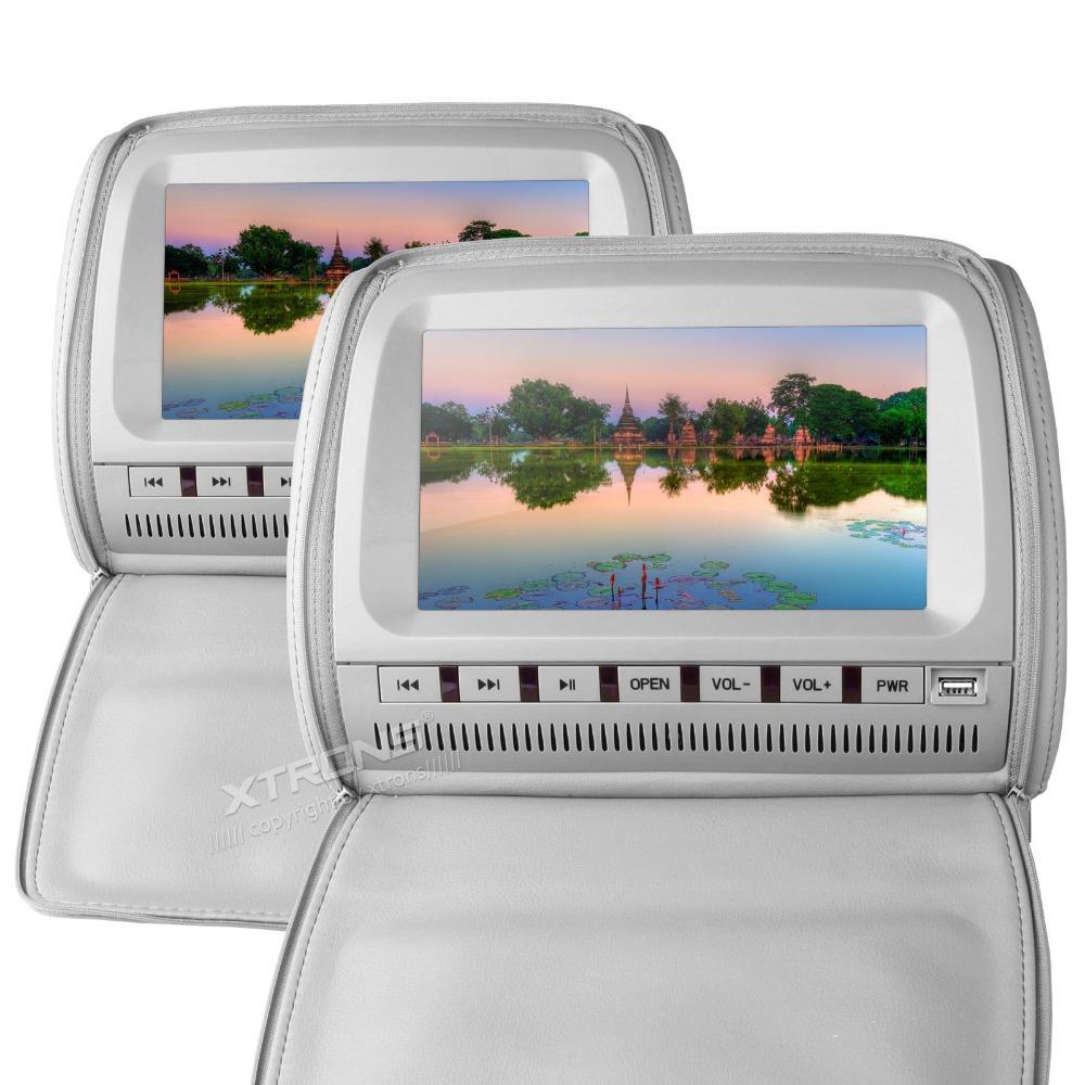 "XTRONS Grey 2x9"" headrest monitor Car DVD player with digital screen/ IR/ FM Transmitter cover zipper(China (Mainland))"