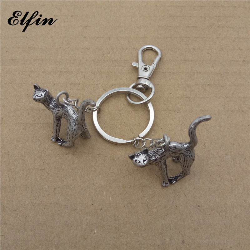 Elfin 2017 Trendy Retro 3D Cat Key Chains Fashion Animal Pet Memorial Jewellery Cat Car Key Rings