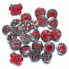Royalbeier New 20pcs/lot Mixed Rhinestone Styles Metal Charms 12mm Snap Button Jewelry For Snaps Bracelet DIY Snap Jewelry(China)