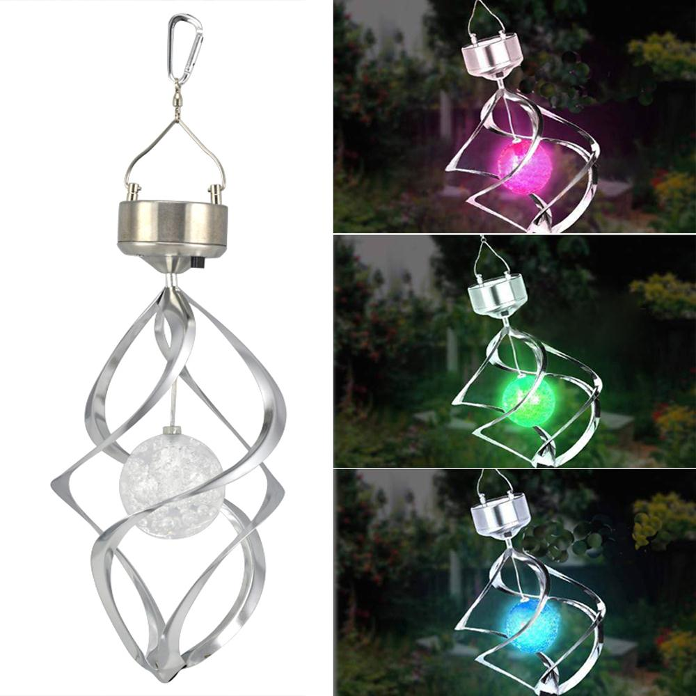 USA Delivery Solar Powered Spiral Wind Spinner With Colour Changing LED Light(China (Mainland))