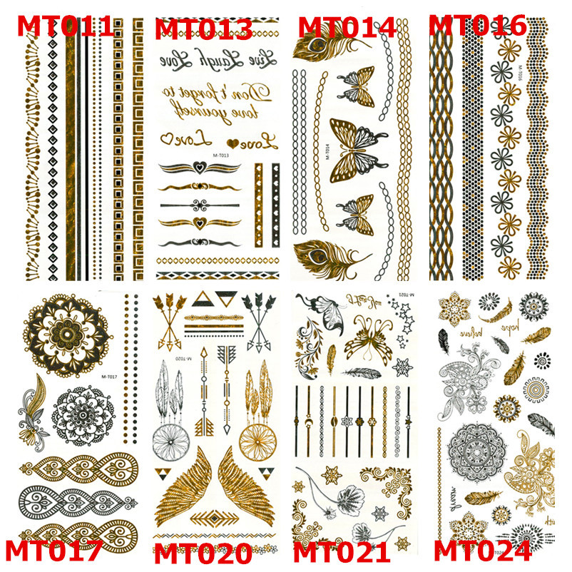 Cool Tattoo Stickers Stencils For Painting Body Art Temporary Waterproof Glitter Metal Golden Crown Lotus Loves Color Tattoos MT(China (Mainland))