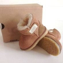 Clearance!Small Baby Boys&Girls Nature Leather Wool Snow Boots Cold Winter Toddlers Sheepskin Boots 6-24 Mths(China (Mainland))