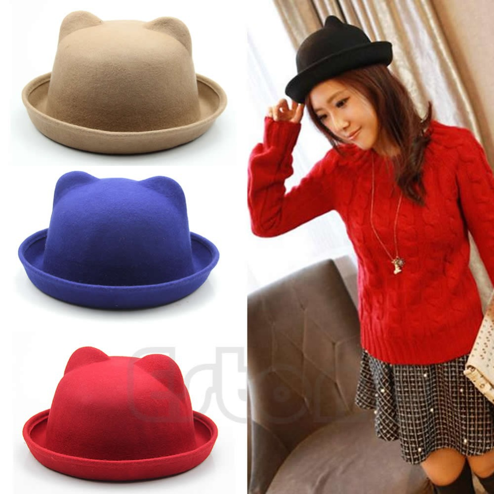 Free Shipping New Unisex Wool Parent-Child Fedora Bowler Hats Derby Cat Ear Cap<br><br>Aliexpress