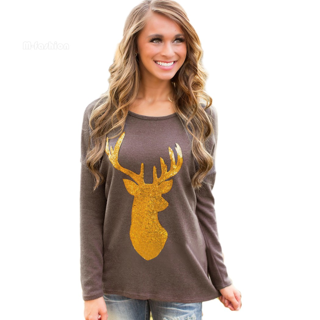 stylish women casual t shirt long sleeve loose animal