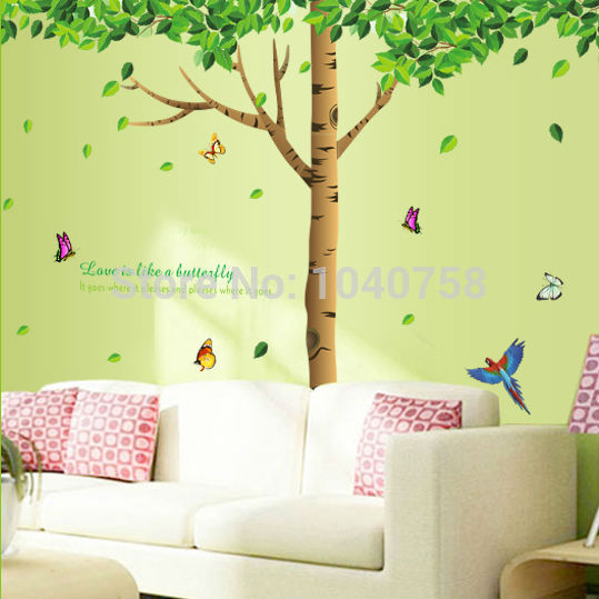 Wall Art Trees Green : Large removable pvc green tree wall sticker for living