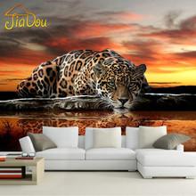 Custom Photo Wallpaper 3D Stereoscopic Animal Leopard Mural Wallpaper Living Room Bedroom Sofa Backdrop Wall Murals Wallpaper(China (Mainland))