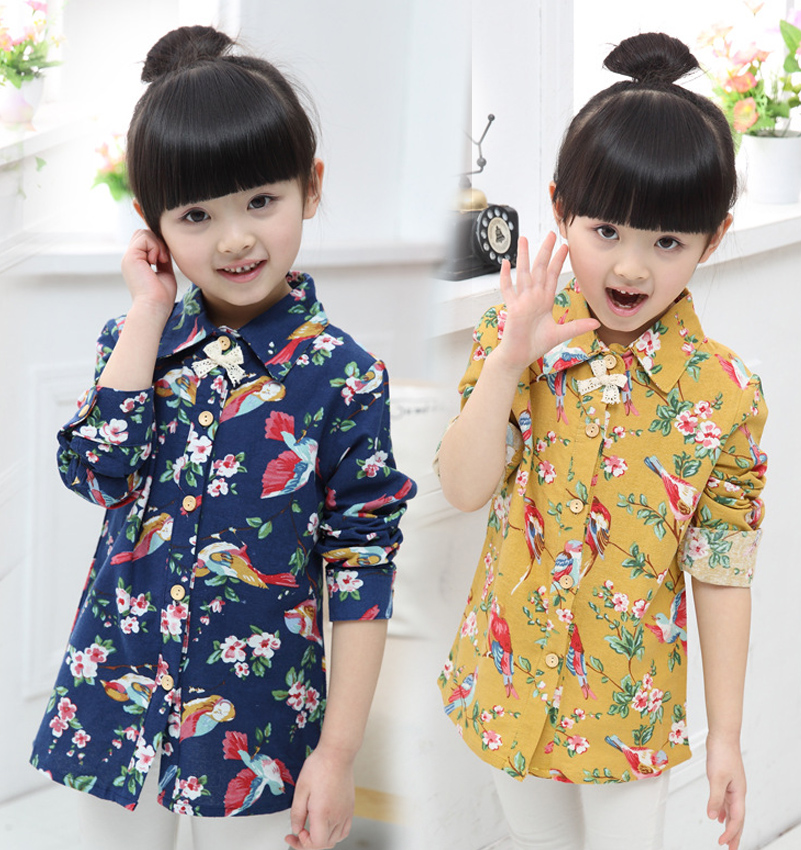 Girls Blouse Cotton Fashion Children Clothing Turndown Collar Kids Shirts For Girls Long Sleeve Flower Girls Shirts Baby Clothes