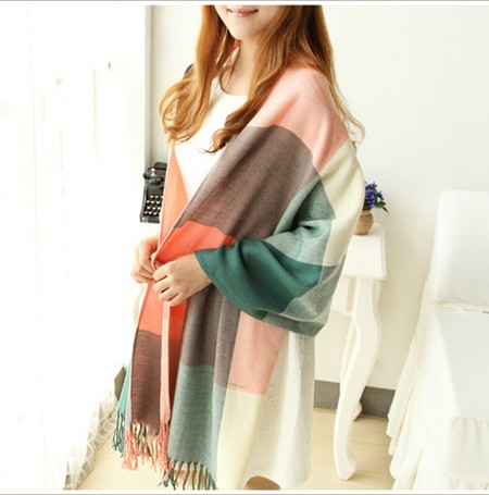 2014 New South Korean winter day air conditioning Scarf Shawl dual-purpose Korean long scarf Plaid increase thickening(China (Mainland))