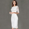 New arrival Womens Elegant High quality Delicate Floral Lace White Black Red Pencil Dress Casual Party