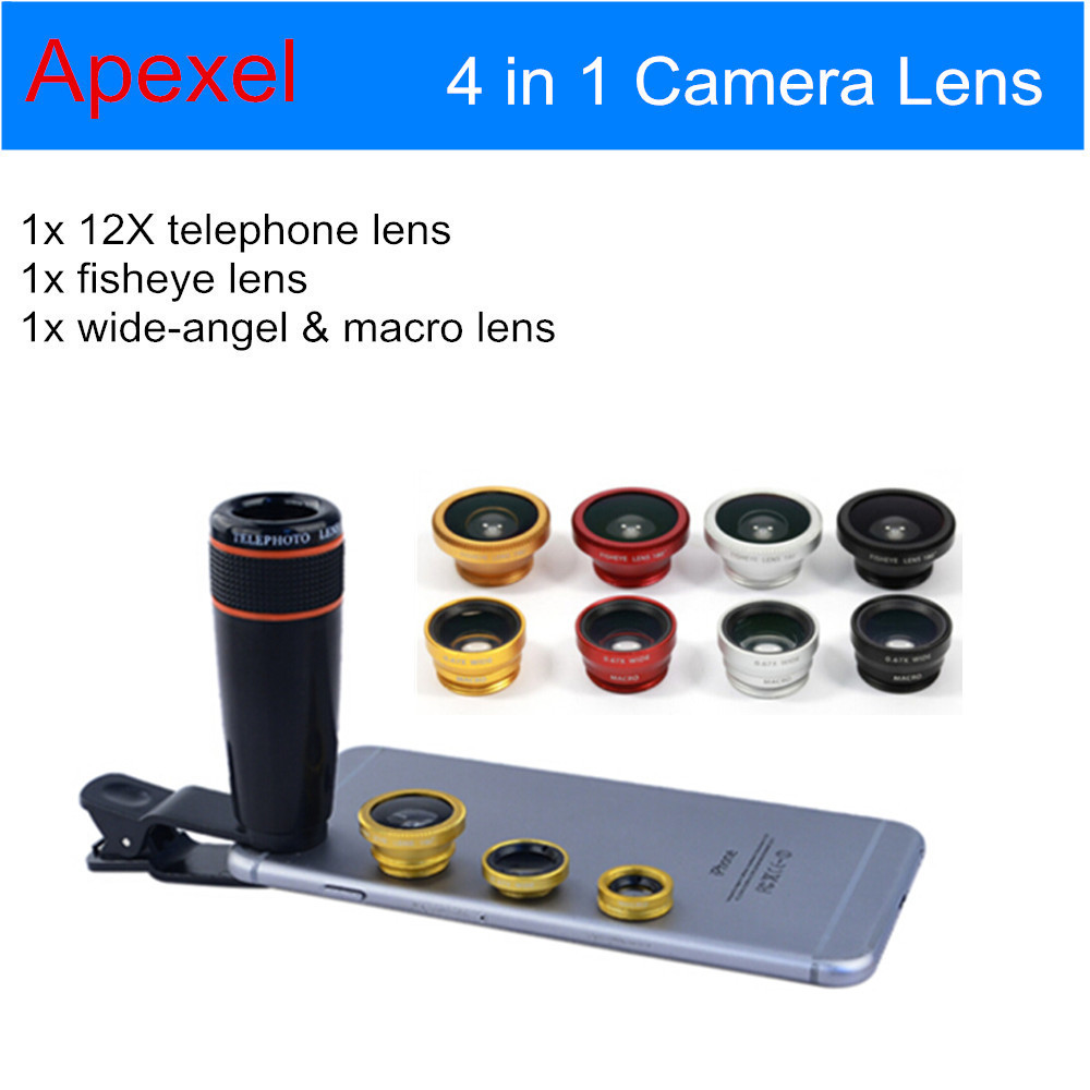 Universal Camera Phone Lens Kit 12XTelephoto Lens+ Wide Angle & Macro+ Fisheye Fish eye Lens with Clip for iPhone Samsung HTC(China (Mainland))