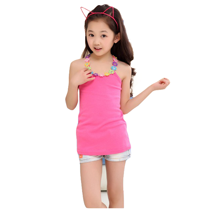 Girls clothing 2017 new candy-colored flower girls halter top vest girl t-shirt children t shirt kids clothing free shipping(China (Mainland))