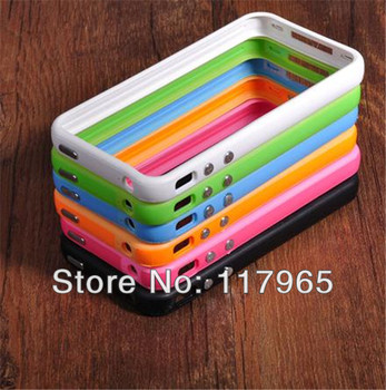 top quality Candy Color ultra flexible Black-Clear Bumper Frame TPU Silicone Case Cover for iPhone 4 4S W/Side Button EC053