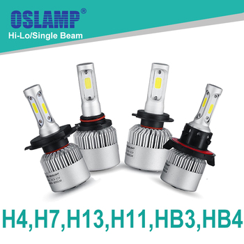 Oslamp Hi-Lo Beam/Single Beam COB H4 H7 H11 H13 9005(HB3) 9006(HB4) 72W/pair 6500K LED Car Headlight Auto Led Head Lights SUV