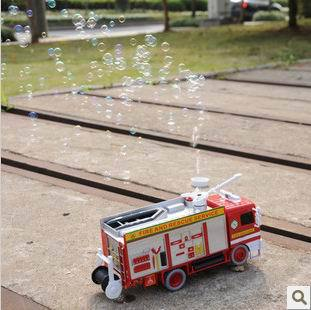NEW 2015 Baby toy car electric bubble car toy fire truck automatic bubble machine band music(China (Mainland))