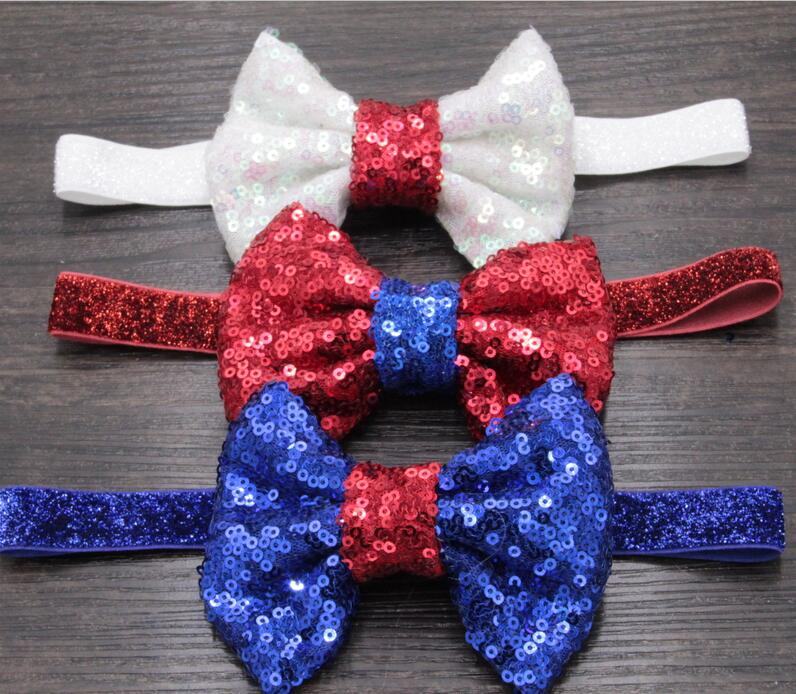 """9pcs/lot Chic American July 4th Day 4"""" Bow Glitter Elastic Headband 2016 Trendy Baby Girl DIY Hair Accessories New Arrival(China (Mainland))"""