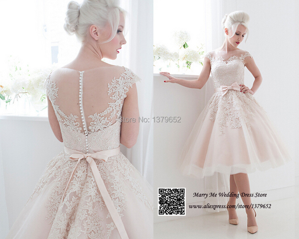 Lace Tea Length Wedding Dress With Sleeves Tea Length Wedding Dresses