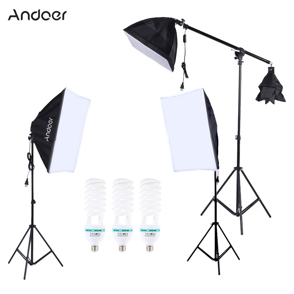 US DE STOCK Photography Photo Lighting Kit with 5500K 135W Daylight Studio Bulb Light Stand Square Cube Softbox Cantilever Bag(China (Mainland))