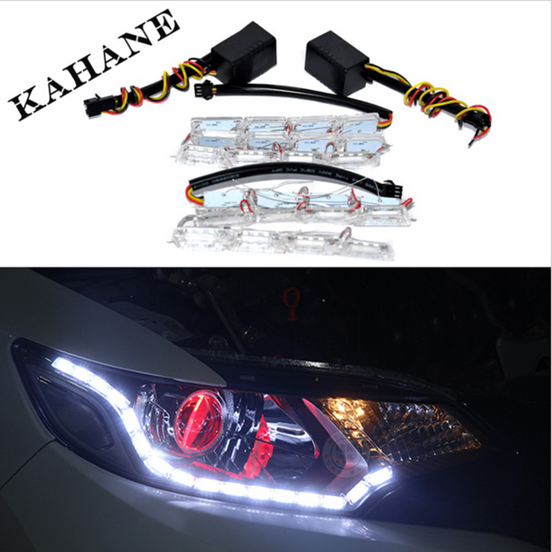 2PCS White Yellow Crystal 12 Groups LED DRL Strips Flexible Car LED DRL Stripes LED Daytime Running Light with Turn Signal Light(China (Mainland))