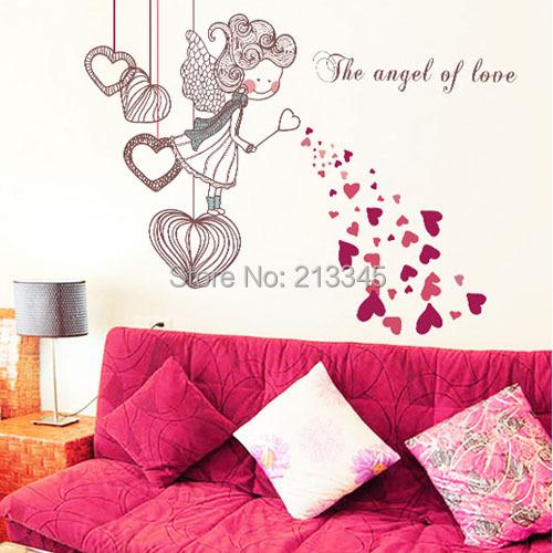 Koop zaterdag monopolie de engel van de liefde diy muurstickers voor kinderen - Baby slaapkamer deco ...