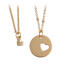Buy 2pcs/set Mother Daughter Necklace Gold Silver Hollow Splicing Love Heart shaped Pendant Necklaces Women Fashion Jewelry Gift for $1.39 in AliExpress store