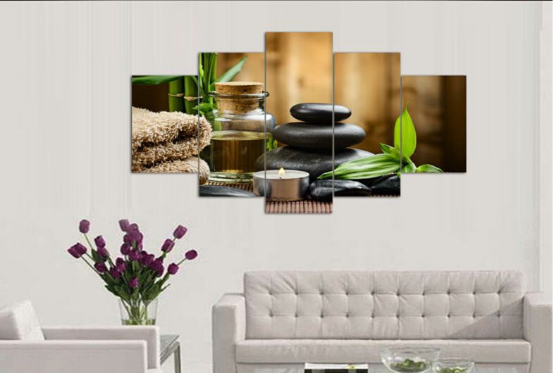 5 Pieces Wall Art Oil Painting Spa Stone Bamboo Candels Home Decoration Canvas Prints Pictures