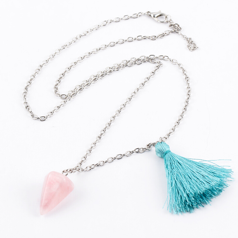 New Hot Pyramidal Energy Natural Pink Quartz Pendant Necklace Tassel Sweater Necklaces Fashion Women's Jewelry Wholesel N95(China (Mainland))