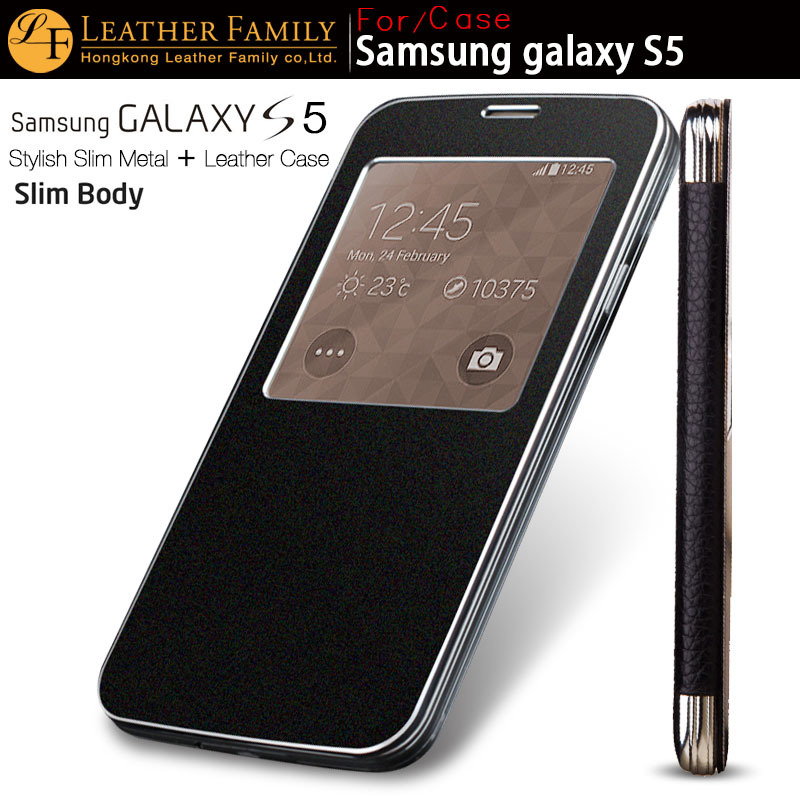 Гаджет  For S5 case Original genuine Leather flip Ultra thin Metal Aluminum Battery back Cover For Samsung Galaxy S5 case 9600 SIV black None Телефоны и Телекоммуникации