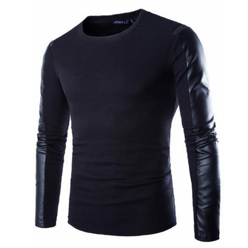 Spring 2016 men's fashion trend of high-quality British style solid color stitching leather sleeve long-sleeved T-shirt(China (Mainland))