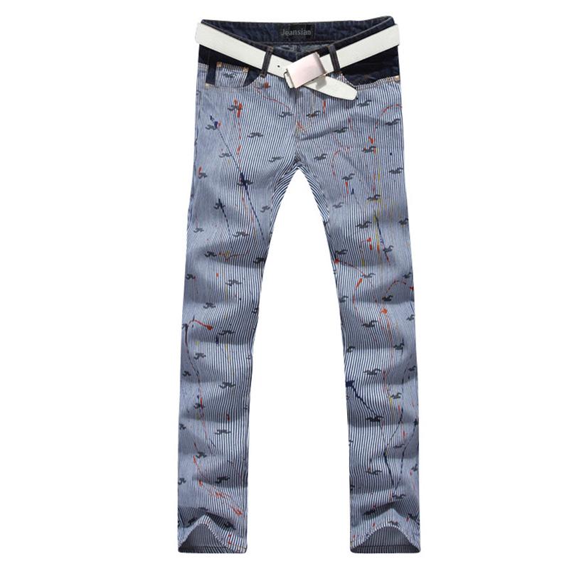 2016 new fashion straight leg jeans long men male printed denim pants cool cotton designer good quality brand trousers  MJB025